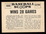 1961 Nu-Card Scoops #444   -   Robin Roberts  Robin Roberts Wins 28 Games Back Thumbnail
