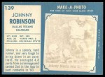 1961 Topps #139  Johnny Robinson  Back Thumbnail