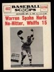 1961 Nu-Card Scoops #402   -   Warren Spahn No-hitter Front Thumbnail