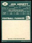 1960 Topps #64  Jon Arnett  Back Thumbnail