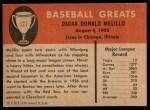 1961 Fleer #127  Oscar Melillo  Back Thumbnail