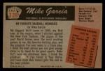 1955 Bowman #128  Mike Garcia  Back Thumbnail