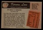 1955 Bowman #199  Vern Law  Back Thumbnail