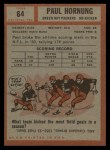 1962 Topps #64  Paul Hornung  Back Thumbnail