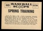 1961 Nu-Card Scoops #449   Harmon Killebrew   Back Thumbnail