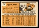 1963 Topps #120  Roger Maris  Back Thumbnail