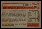 1954 Bowman #162  Ted Lepcio  Back Thumbnail