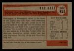 1954 Bowman #121  Ray Katt  Back Thumbnail