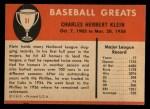 1961 Fleer #51  Chuck Klein  Back Thumbnail