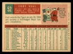 1959 Topps #52  Coot Veal  Back Thumbnail