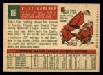 1959 Topps #89  Billy Gardner  Back Thumbnail