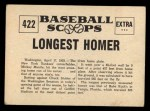 1961 Nu-Card Scoops #422   -   Mickey Mantle Longest homer Back Thumbnail