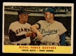 1958 Topps #436   -  Duke Snider / Willie Mays Rival Fence Busters Front Thumbnail