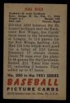 1951 Bowman #300  Hal Rice  Back Thumbnail