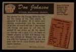 1955 Bowman #101 ERR Don Johnson  Back Thumbnail