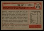 1954 Bowman #159  Johnny Lindell  Back Thumbnail