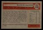 1954 Bowman #125  Warren Hacker  Back Thumbnail