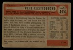 1954 Bowman #174 A Pete Castiglione  Back Thumbnail