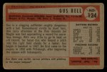1954 Bowman #124 COR Gus Bell  Back Thumbnail