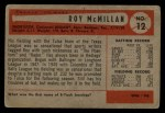 1954 Bowman #12 ERR Roy McMillan  Back Thumbnail