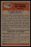 1955 Bowman #153  Ray Renfro  Back Thumbnail