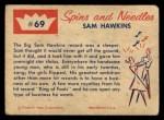 1960 Fleer Spins and Needles #69  Sam Hawkins  Back Thumbnail