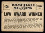 1961 Nu-Card Scoops #406   Vern Law   Back Thumbnail