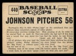 1961 Nu-Card Scoops #440   -   Walter Johnson  Johnson Pitches 56 Scoreless Innings Back Thumbnail