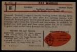 1953 Bowman #81  Pat Harder  Back Thumbnail