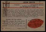 1953 Bowman #63  Leon Heath  Back Thumbnail