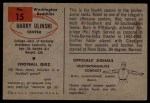 1954 Bowman #15  Harry Ulinski  Back Thumbnail