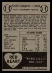 1954 Red Heart  Bob Lemon  Back Thumbnail