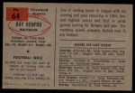 1954 Bowman #64  Ray Renfro  Back Thumbnail