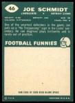 1960 Topps #46  Joe Schmidt  Back Thumbnail