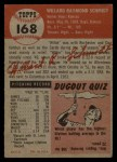 1953 Topps #168  Willard Schmidt  Back Thumbnail
