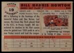 1956 Topps #19  Bill BillyHowton  Back Thumbnail