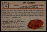 1953 Bowman #62  Ray Renfro  Back Thumbnail