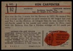 1953 Bowman #92  Ken Carpenter  Back Thumbnail