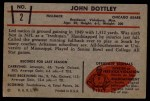 1953 Bowman #2  John Dottley  Back Thumbnail