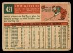 1959 Topps #421  Herm Wehmeier  Back Thumbnail