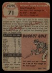 1953 Topps #71  Tony Bartirome  Back Thumbnail
