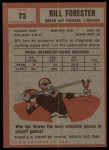 1962 Topps #73  Bill Forester  Back Thumbnail