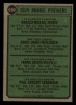 1974 Topps #599 ^WASH^  -  Dave Freisleben / Ron Diorio / Frank Riccelli / Greg Shanahan Rookie Pitchers   Back Thumbnail