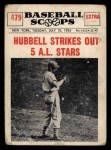 1961 Nu-Card Scoops #479   -   Carl Hubbell  Hubbell Strikes Out 5 AL Stars Front Thumbnail