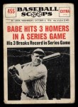 1961 Nu-Card Scoops #455   -   Babe Ruth 3 Homers Front Thumbnail