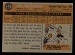 1960 Topps #148   -  Carl Yastrzemski Rookie Star Back Thumbnail