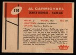 1960 Fleer #110  Al Carmichael  Back Thumbnail
