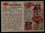 1957 Topps #3  Mike McCormack  Back Thumbnail