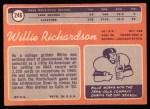1970 Topps #246  Willie Richardson  Back Thumbnail