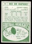 1968 Topps #70  Dick Van Raaphorst  Back Thumbnail